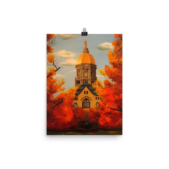 Notre Dame University Art Golden Dome Print Fall Colors Fighting Irish Wall Art Campus Print Graduation Gift Wedding Party Gift