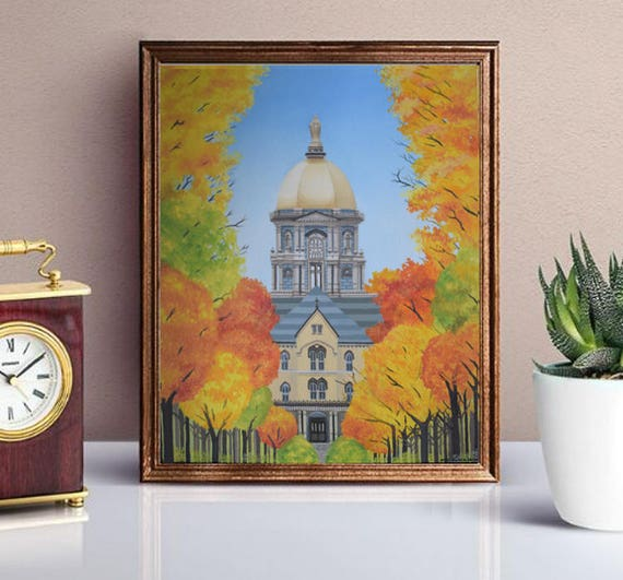 Notre Dame Painting Print Golden Dome In Fall University College Fighting Irish Campus Painting Wall Art Graduation Gift Home Decor