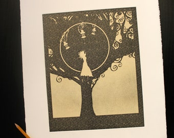 """Sepia """"Hiding Darkness"""", Art print - Chalcography - intaglio etching, aquatint and photogravure"""
