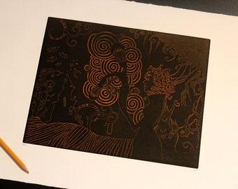 Orange Reverse Burtonesque, Art print - Chalcography - intaglio etching, aquatint and photogravure