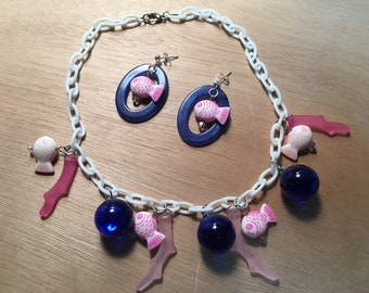 Under the sea necklace and earrings