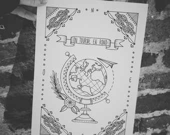 World Globe print A4 print, black and white original drawing