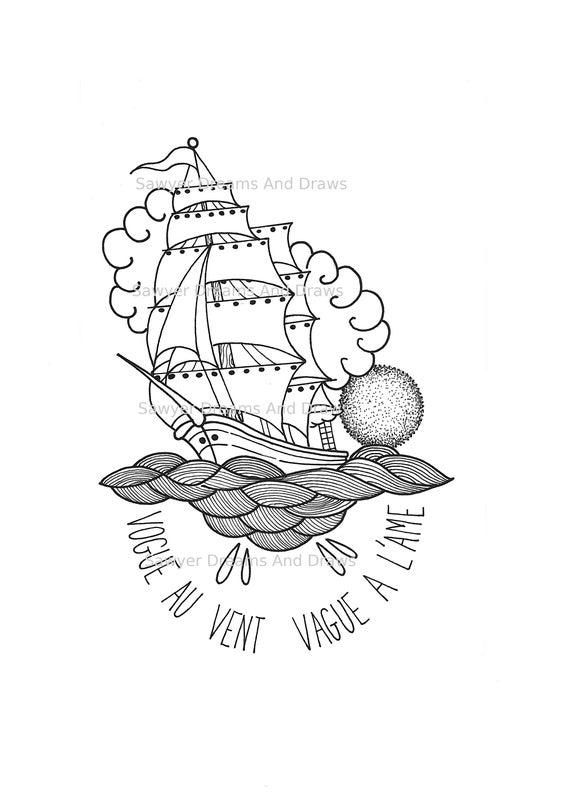 Illustration Navire à Imprimer Dessin D Origine En Noir Et Blanc