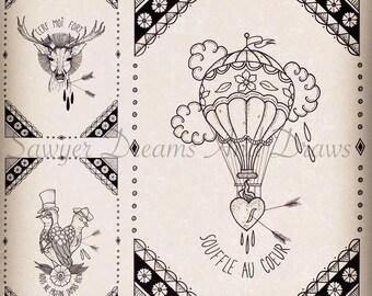 Set of 3 prints A4 print, original black and white drawings