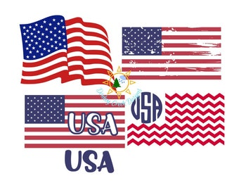 0d7ca4deb7f8 Flag svg bundle USA flag monogram distressed chevron flag American flag  silhouette cut files wavy US flag Patriotic 4th of July SVG bundle