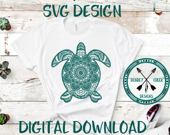 056ab102 Mandala turtle svg turtle svg silhouette cricut cut file turtle svg png dxf  jpg flower mandala