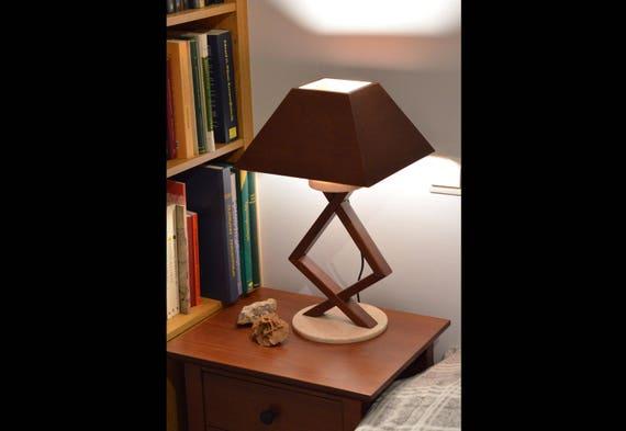 Table lamp wood lighting bedside lamp cherry wood bois et etsy image 0 aloadofball Image collections