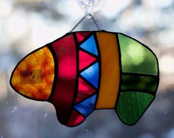 Stained Glass Spirit Bear Sun Catcher