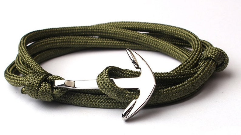 Dark green Wrap bracelet Anchor