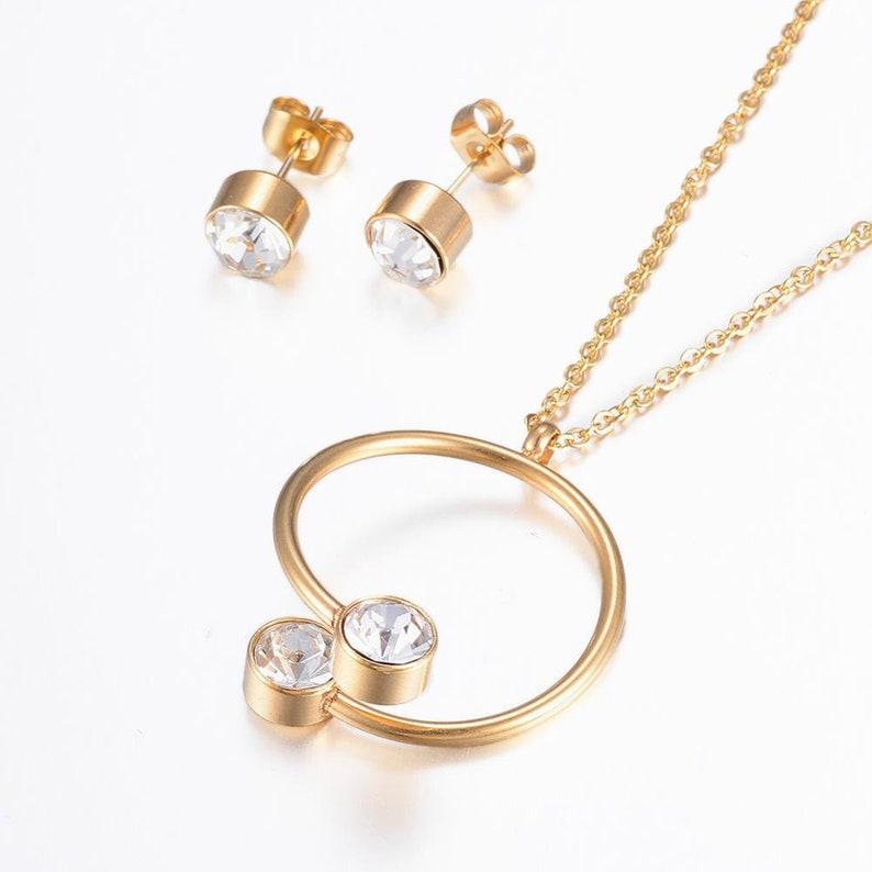 Set necklace /& stud earrings stones-silver