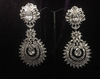 Silver Plated American Diamond Earrings