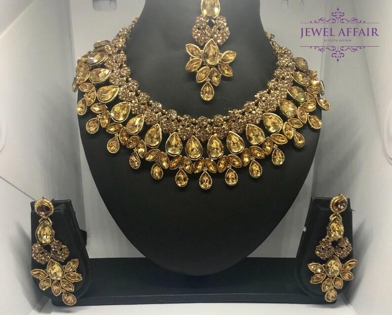 Antique amber american diamond set