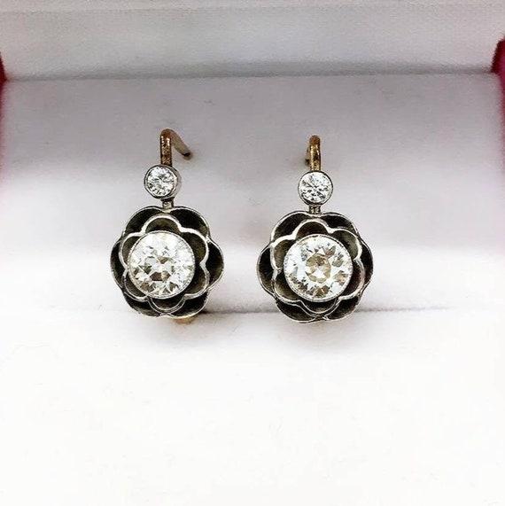 Old Mine Cut Diamond Earrings Etsy