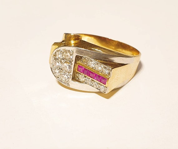 Retro diamond ruby ring