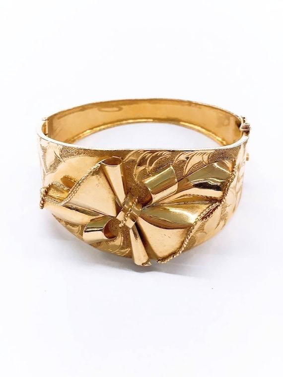 Antique gold floral cuff bracelet
