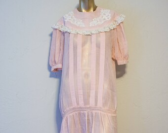 Vintage baby pink lace top dress