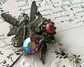 Recycled Vintage Fairy Collage Pin Brooch Upcycled Pewter Fairy Rhinestone Pearl Dangle Pink Glass Flower