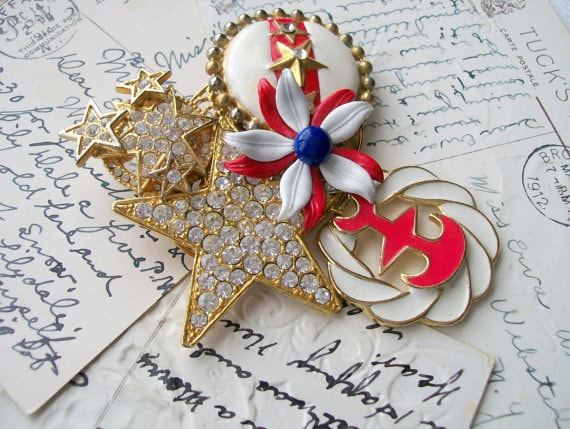 Upcycled Patriotic Collage Pin Brooch Recycled Vintage Broken