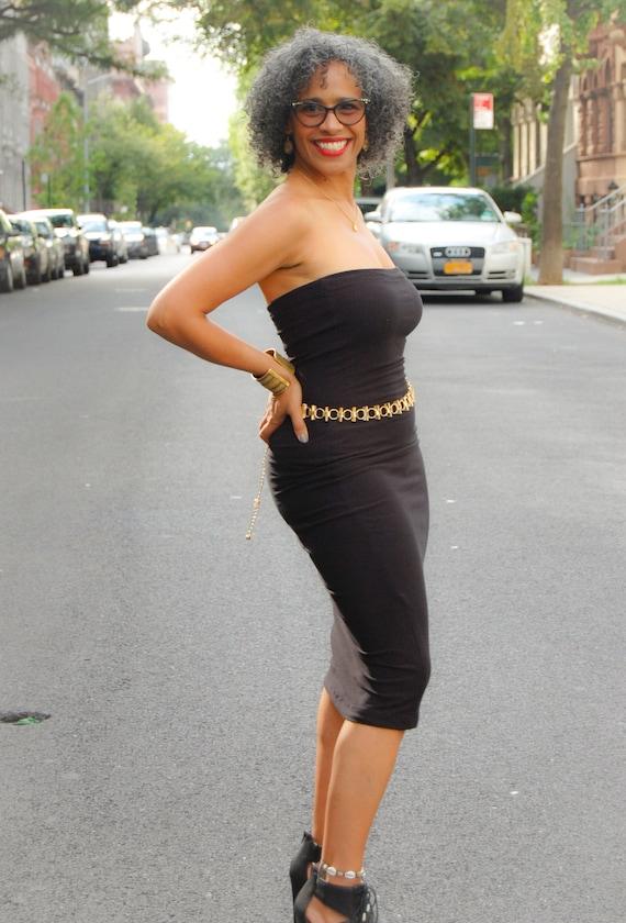 Black Strapless Tube Dress, Little Black Party Dress, Tube Top Dress, Pencil skirt, Handmade Dress, Black Bodycon Dress, Fitted Black Jersey