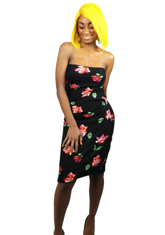 Black Floral Tube Dress Summer Dress Women S Clothing Wedding Guest Dress Bodycon Handmade Tube Dress Stretch To Fit Cocktail Dress