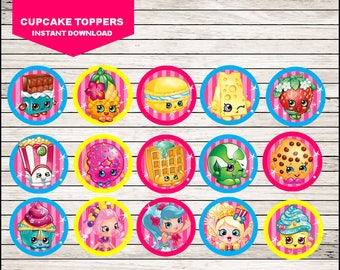 Shopkins Cupcakes Toppers, Printable Shopkins Toppers, Shopkins party Toppers Instant download
