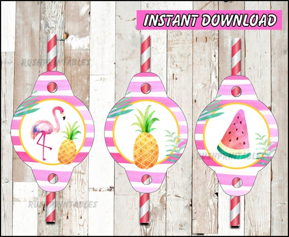 Printable Pool Party Toppers Pineapple party Toppers Flamingo Cupcakes toppers instant download