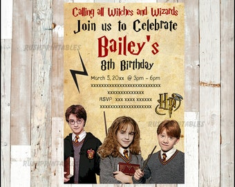 Harry Potter invitation, Harry Potter Birthday invitation, Harry Potter party Invitation Digital File