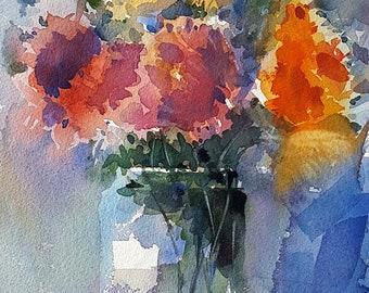 Full Bloom Flowers : Original Watercolour Painting
