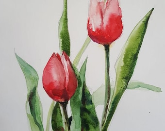Tulips  : Original Watercolor Painting