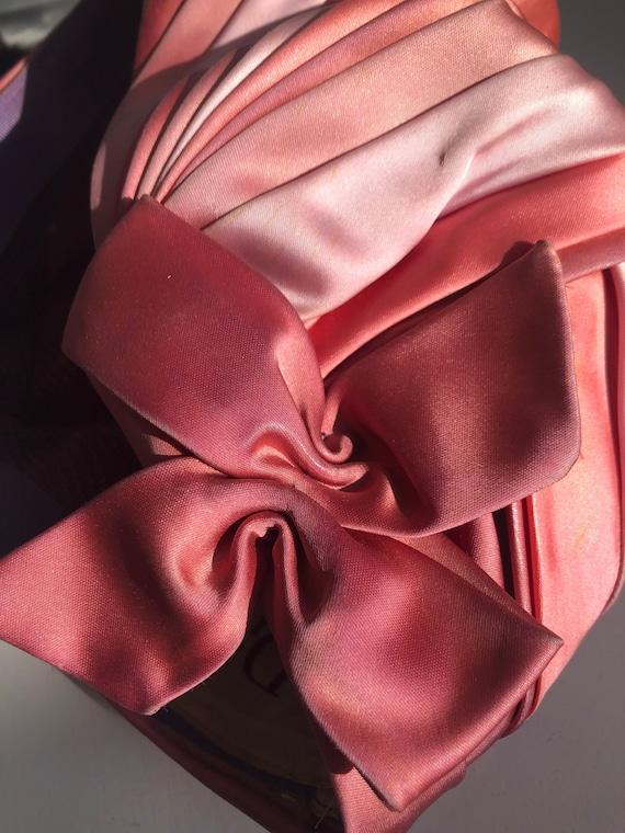 VINTAGE 1950S DIOR draped turban pink silk