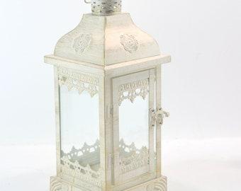 """White touch of gold  Wedding 12 1/2"""" Lantern Centerpiece. Wedding Decor. Wedding Table Centerpieces. Centerpiece. No. Z821"""