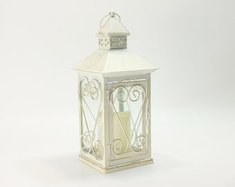 """White touch of gold  Wedding 13 1/2"""" Lantern Centerpiece. Wedding Decor. Wedding Table Centerpieces. Centerpiece, Flower is removable."""