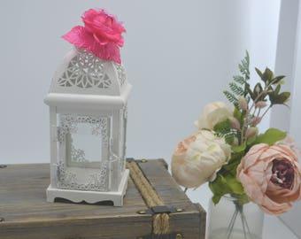 White Wedding 10 inch  Lantern Centerpiece. Wedding Decor. Wedding Table Centerpieces. Centerpiece, Flower is removable. Wedding Reception
