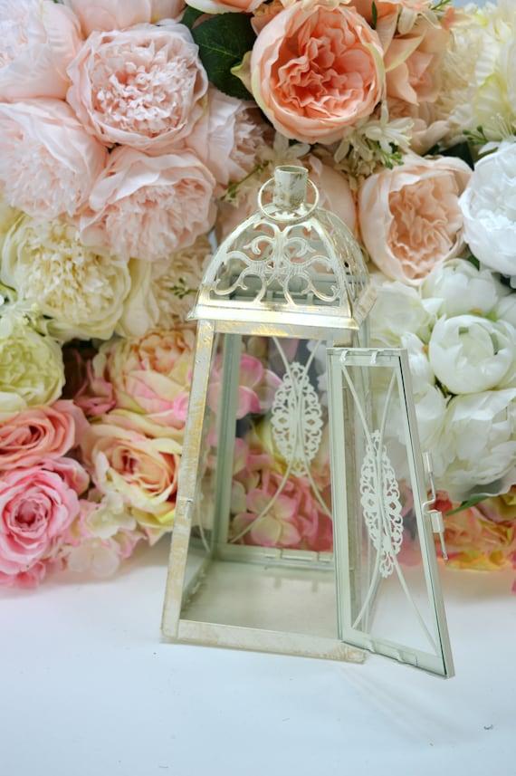 Wedding Lantern Centerpiece Vintage Antique White Gold Etsy