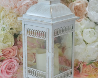 White touch of gold  Wedding 14 inch Lantern Centerpiece. Wedding Decor. Wedding Table Centerpieces. Centerpiece, Flower is removable.