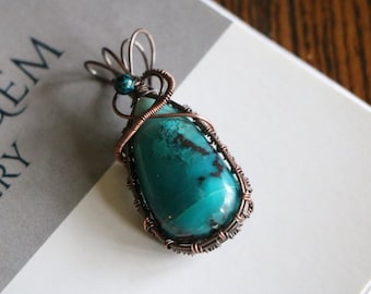 Crysocolla in Quartz -#Wire wrapped pendant, #Womans Jewelry-By RocktoGemJewelry