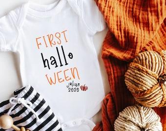 Halloween Pumpkin Onesies\u00ae Fall Onesies\u00ae Personalized Pumpkin Bodysuit Fall Baby Clothes Gifts for Newborn Boy or Girl Orange Plaid