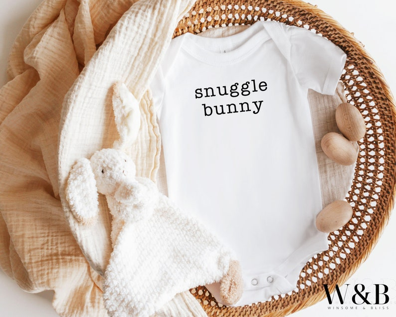 Snuggle Bunny Easter Baby Onesie Personalized Baby Bodysuit Gift First Easter Outfit