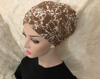 Gorgeous Jersy Brown/floral yellow  rectangle scarf/wrap /mitpachat/ head covering