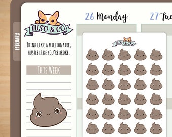 Cute Poop Planner Stickers | Erin Condren Stickers, Happy Planner, TN, Poopy Day, Poo, Crappy Day, Cute