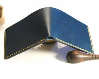 Navy leather bifold (Buttero)
