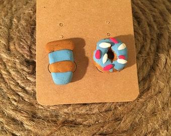 Donut and coffee earrings