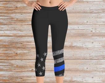 black yoga leggings casual leggings cops wife,high waisted legging Back The Blue thin blue line Leggings
