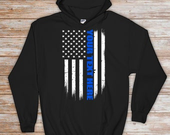 36b4bc688 Custom Thin Blue Line Flag Hoodie - Police Officer Gift - Custom Police  Gift - Thin Blue Line Sweatshirt - Personalized Police Gift