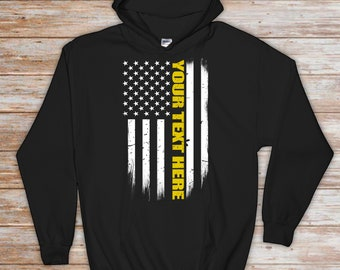 38216e7a42 Custom Thin Gold Line Flag Hoodie - Personalized 911 Dispatcher Gift - 911  Dispatcher Gift - Thin Gold Line Sweatshirt - Dispatch Sweatshirt