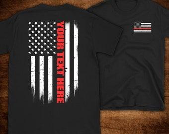 Custom Thin Red Line Flag Firefighter T-Shirt - Firefighter Gift - Custom  Firefighter Gift - Personalized Fire Gift - Fire Department Gift 9ae8036de2d0