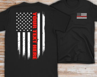 Shirts Black Thin Red Line Distressed US American Flag Support Firefighters T-Shirt Men's Clothing