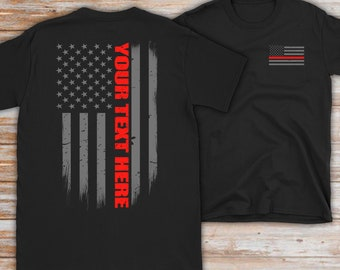 8a819d8c6 Custom Thin Red Line Flag Firefighter T-Shirt - Firefighter Gift - Custom  Firefighter Gift - Personalized Fire Gift - Fire Department Gift
