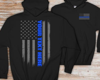 89c50459a Personalized Police Officer Thin Blue Line Flag Hoodie - Police Officer  Gift - Custom Police Gift - Thin Blue Line Sweatshirt - Police Gift