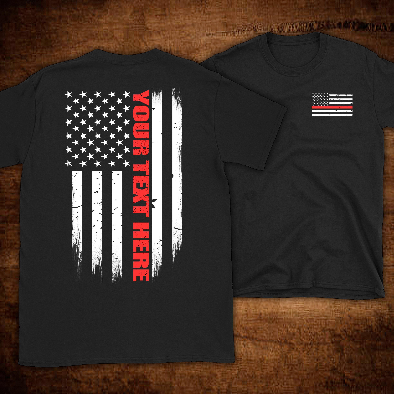 Custom Thin Red Line Flag Firefighter T Shirt Firefighter Etsy